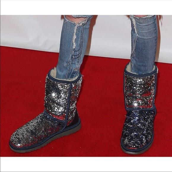 a79ce0655ff UGG Shoes | Classic Short Sequin Boot Navysilver Rare | Poshmark